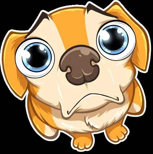 Bild von einem süssen aber traurigen Hundi im Comic-Stil.