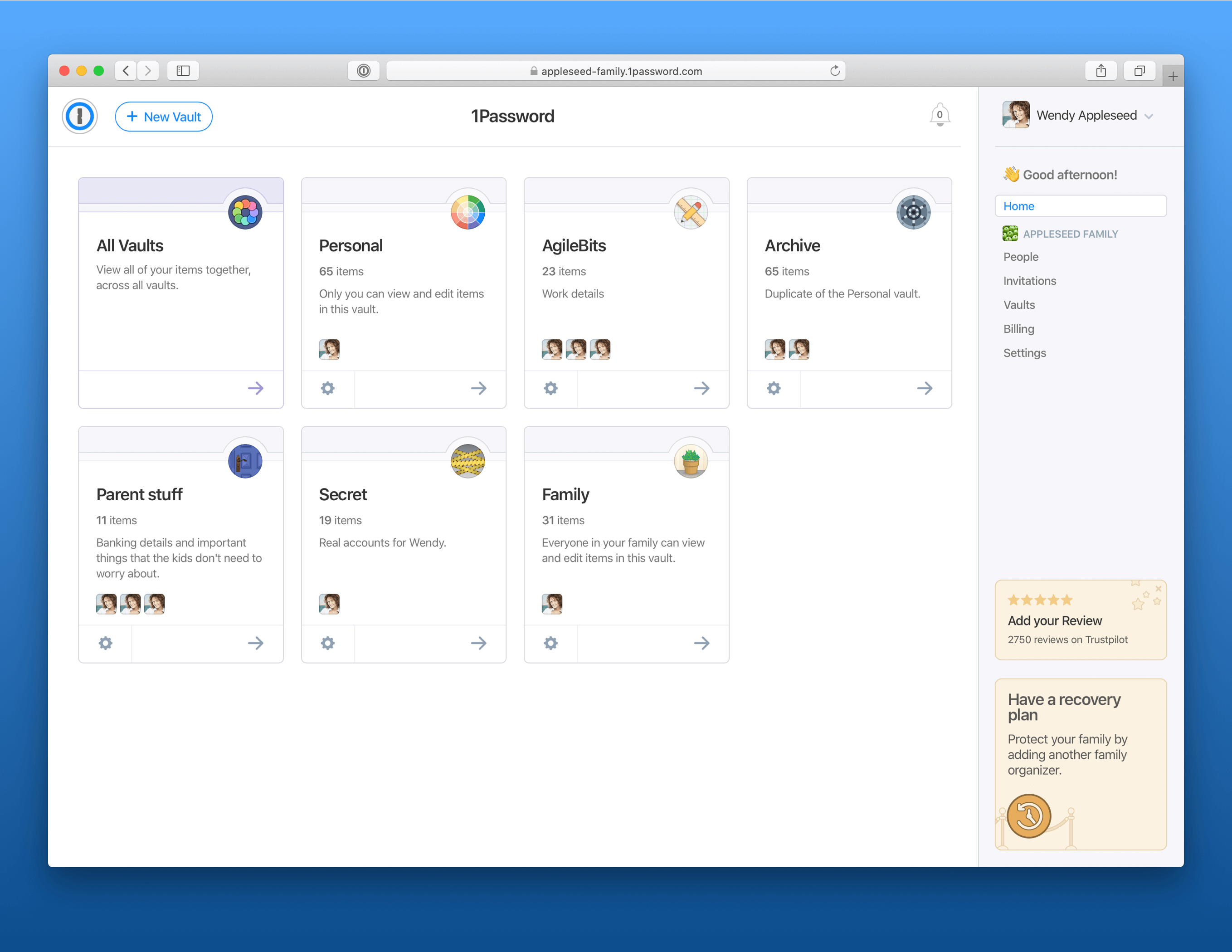 1Password Web-Oberfläche - Vaults